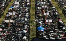 ROTH, GERMANY - JULY 16: A view of the bike park ahead of the Challenge Triathlon Roth on July 16, 2016 in Roth, Germany. (Photo by Stephen Pond/Getty Images for Challenge Triathlon) *** Local Caption *** <>